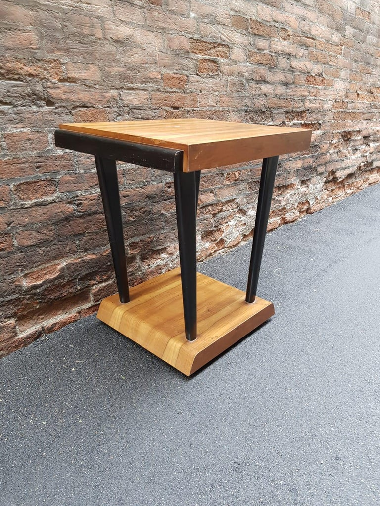 Art Deco walnut wood squared table black ebonized legs. Perfect both as nightstand, coffee or side table Size: W 66 cm, D 52 cm, H 72 cm. 25.98