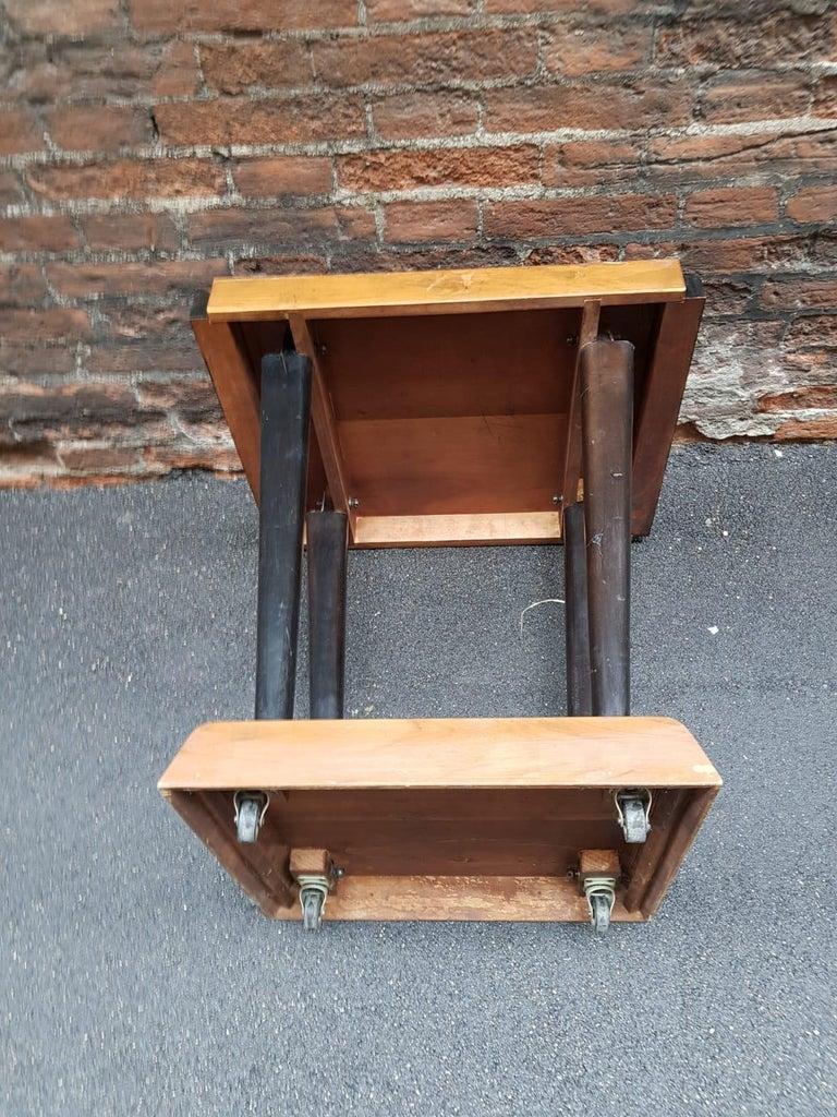 Art Deco Walnut Wood Black Ebonized Legs Squared Side or Coffee Table For Sale 1