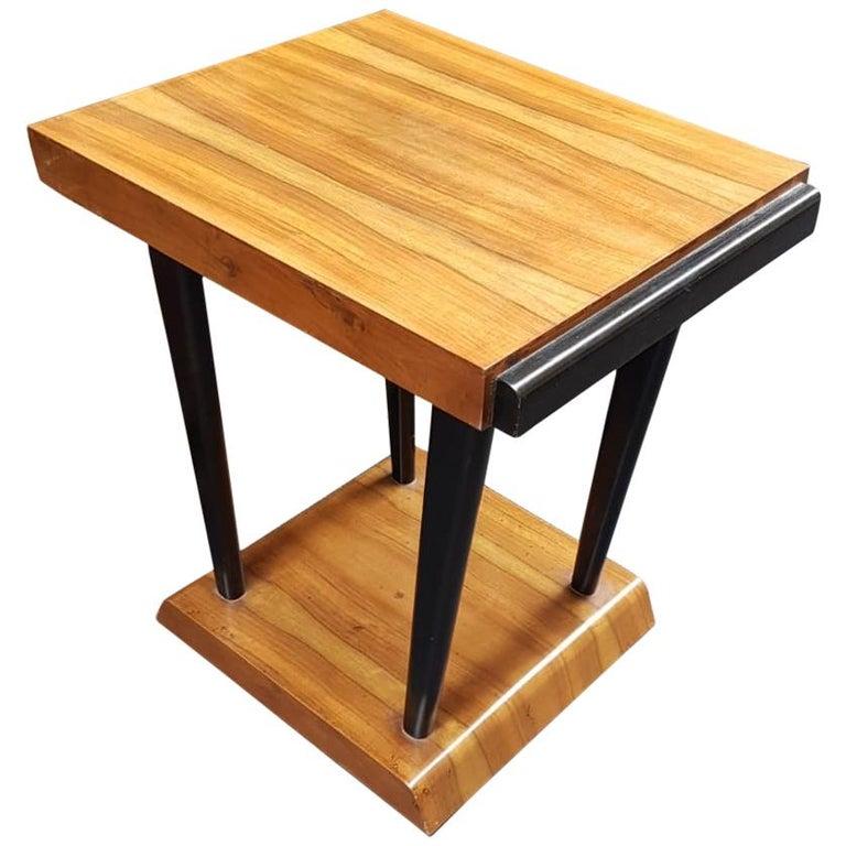 Art Deco Walnut Wood Black Ebonized Legs Squared Side or Coffee Table For Sale