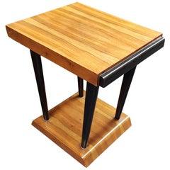 Art Deco Walnut Wood Black Ebonized Legs Squared Side or Coffee Table