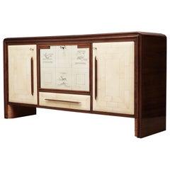 Art Deco Walnut Wood Glass and Goatskin Italian Sideboard/Bar, 1940