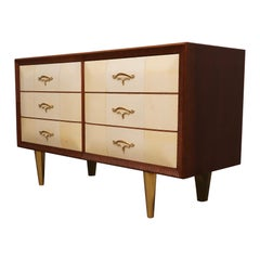 Art Deco Walnut Wood Goat Skin and Brass Italian Chest of Drawers, 1940