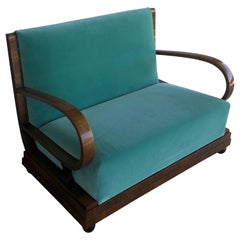 Art Deco Walnut Wood Light Green Velvet Sofa