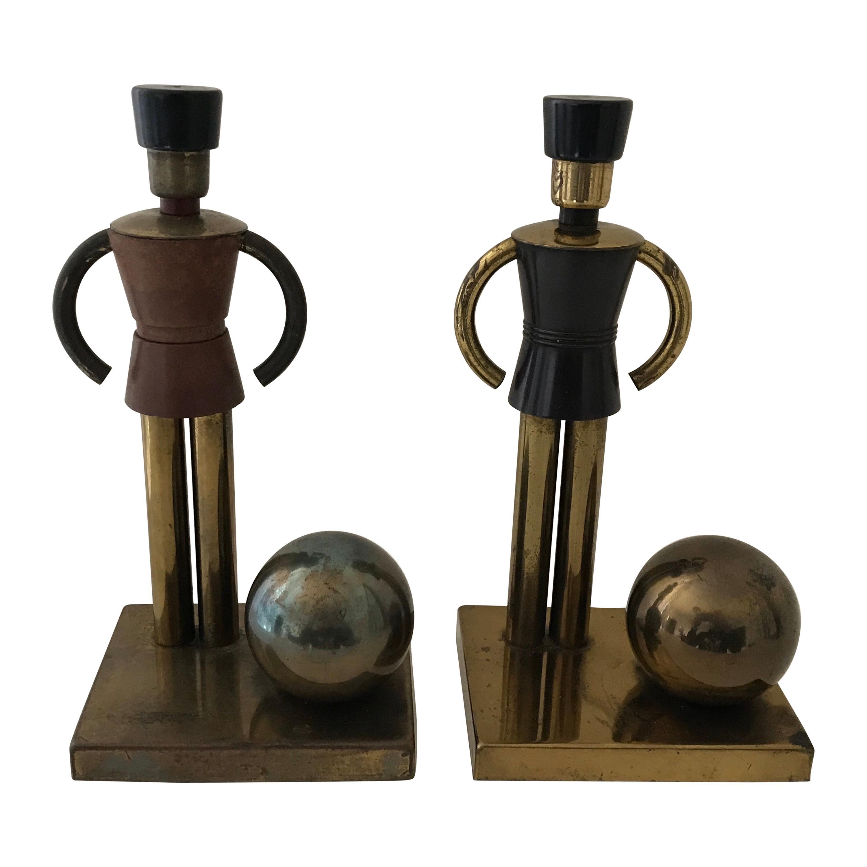 Art Deco Walter Von Nessen Bookends for Chase, Toy Soldiers in Brass & Bakelite