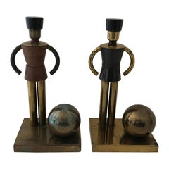 Art Deco Walter Von Nessen Bookends for Chase, Toy Soldiers in Brass & Bakelite