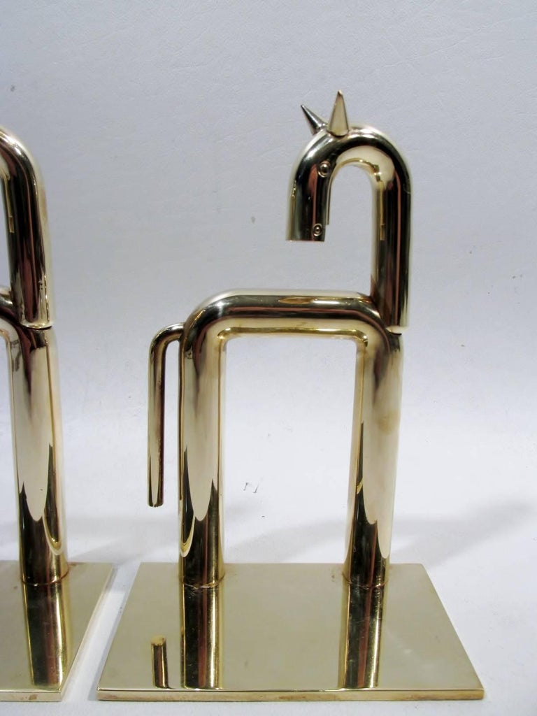"""Modernist horse bookends designed by the master Walter Von Nessen for Chase Metalware in a Brass finish. Each 6.25"""" tall, 4"""" wide, and 2 3/8"""" deep  Condition is excellent overall with areas of minor patina to the brass, tip of one ear has a slight"""