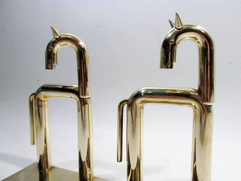 Streamlined Moderne Art Deco Walter Von Nessen Chase Brass Pair of Horse Bookends For Sale