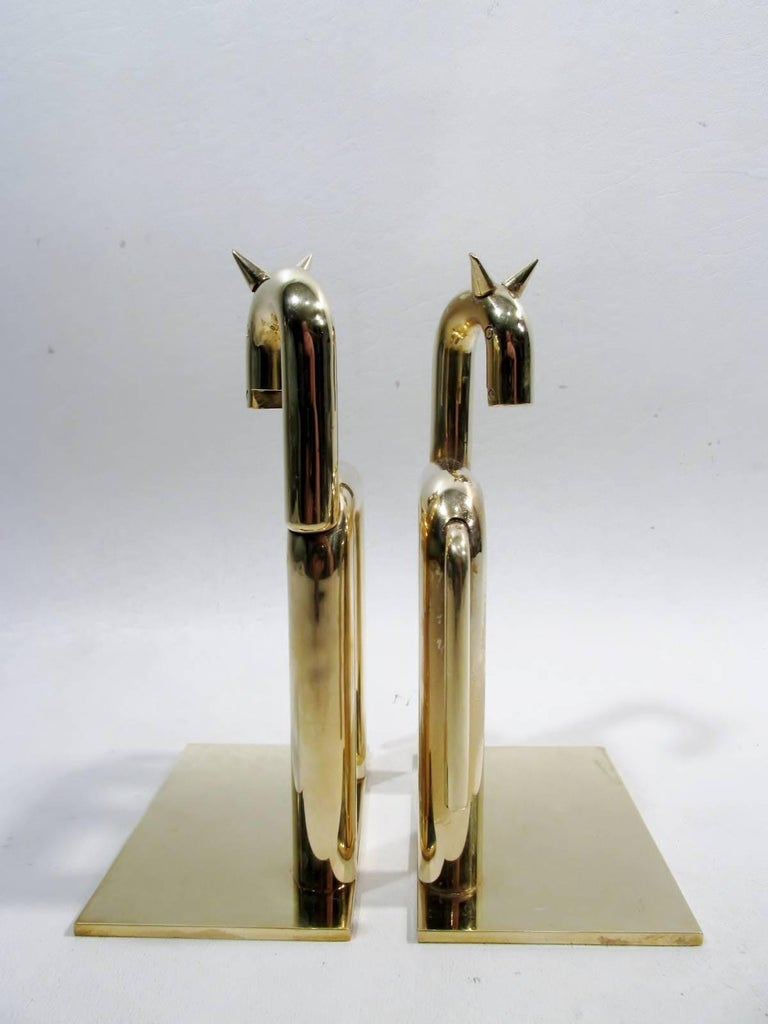 Art Deco Walter Von Nessen Chase Brass Pair of Horse Bookends In Excellent Condition For Sale In Denver, CO