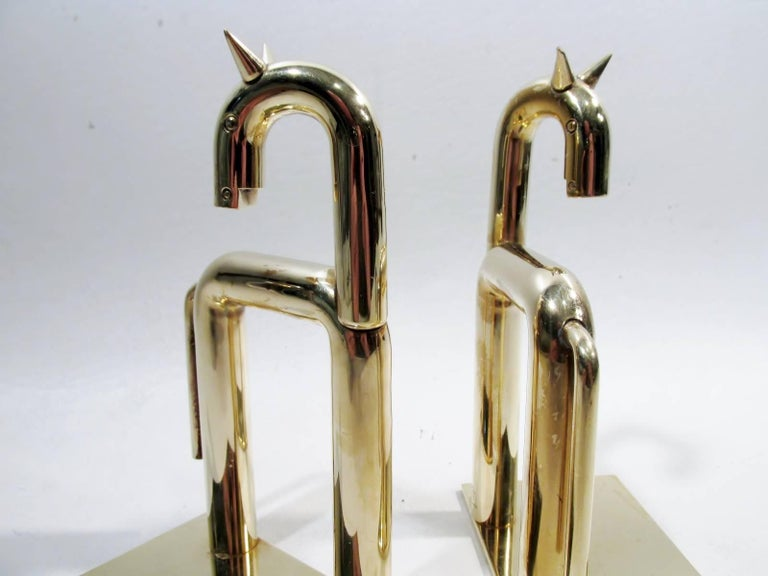 Mid-20th Century Art Deco Walter Von Nessen Chase Brass Pair of Horse Bookends For Sale