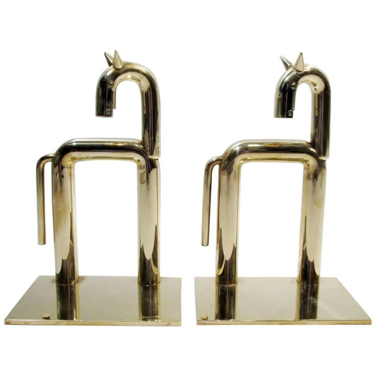 Art Deco Walter Von Nessen Chase Brass Pair of Horse Bookends For Sale