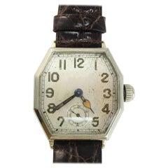 Art Deco Waltham 14 Karat Gold 17 Jewel Riverside Watch with Crocodile Strap