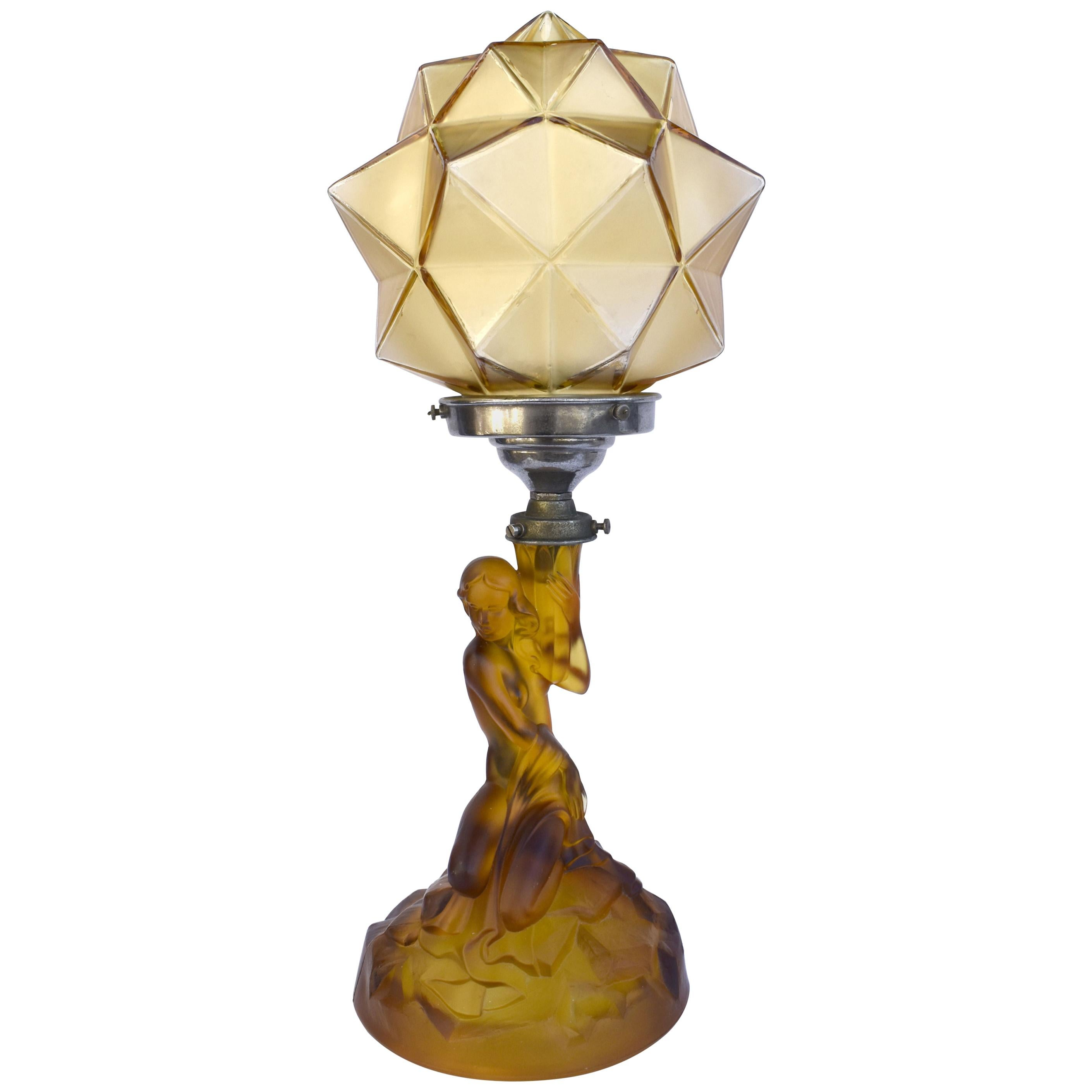 Art Deco Walther and Sohne Amber Glass Table Lamp, Circa 1930's
