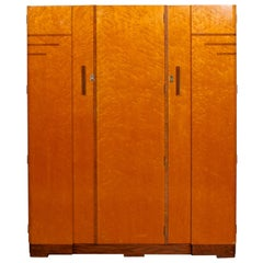Art Deco Wardrobe Bird's-Eye Maple Compactum Armoire
