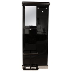 Art Deco Wardrobe, Black Lacquer and Chrome, France, circa 1930