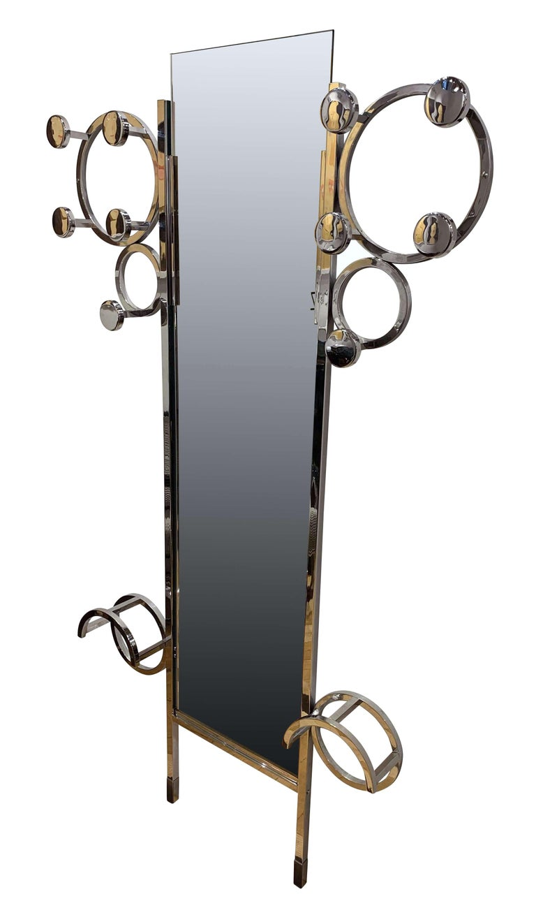Beautiful, rare and very functional Art Deco  wardrobe / coat rack from France, circa 1930  Galvanized (chrome-plated) and polished, heavy steel tube  frame. 10 hangers on top, fixed on two rings. Two umbrella stands at the bottom. Mirror glass (152