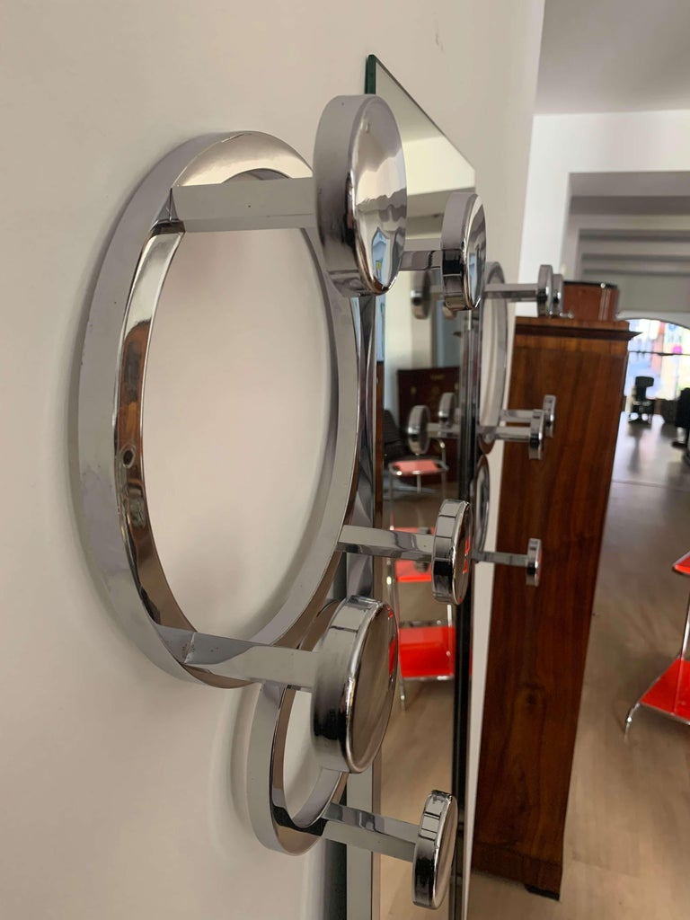 Art Deco Wardrobe, Chromed Steeltubes and Mirror, France, circa 1930 In Good Condition For Sale In Regensburg, DE