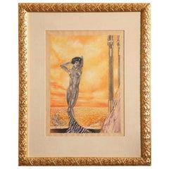 Art Deco Watercolor by Eduard Chimot Custom Framed, French, 1920s