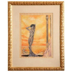 Art Deco Watercolor by Eduard Chimot Custom Framed French, 1920s