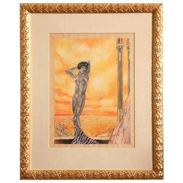 Art Deco Watercolor by Eduard Chimot Custom Framed French, 1920s