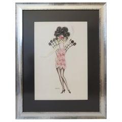 Art Deco Watercolor of a Flapper/Burlesque Dancer