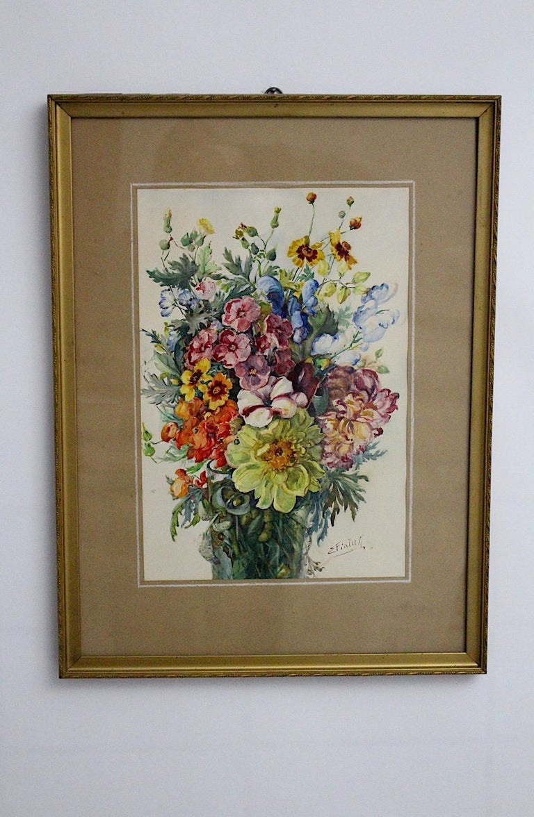 Art Deco watercolor vintage painting wildflowers by Emil Fiala, which was created 1930s in Vienna. Emil Fiala (1869-1960) was from 1915-1937 member of the Austrian Künstlerbund (formerly Hagenbund). The delicate beautiful bouquet of wildflowers