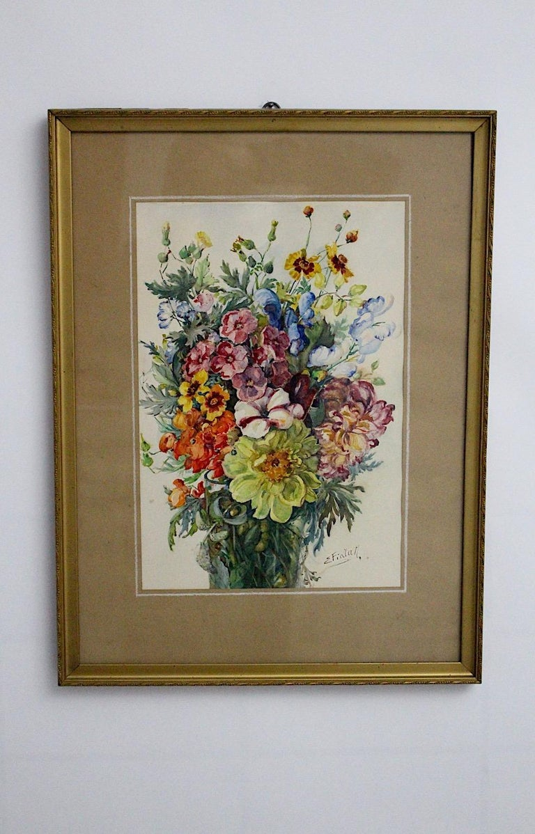 Austrian Art Deco Watercolor Vintage Painting Wildflowers by Emil Fiala, Vienna, 1930s For Sale
