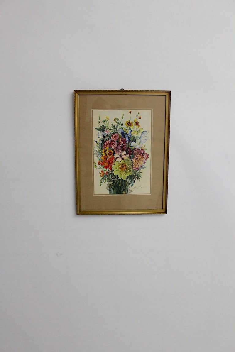 Art Deco Watercolor Vintage Painting Wildflowers by Emil Fiala, Vienna, 1930s In Good Condition For Sale In Vienna, AT