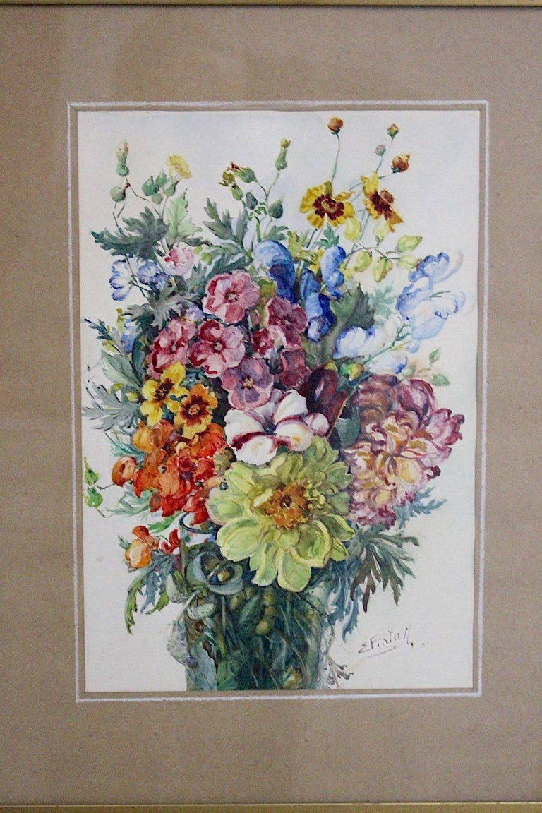 Mid-20th Century Art Deco Watercolor Vintage Painting Wildflowers by Emil Fiala, Vienna, 1930s For Sale