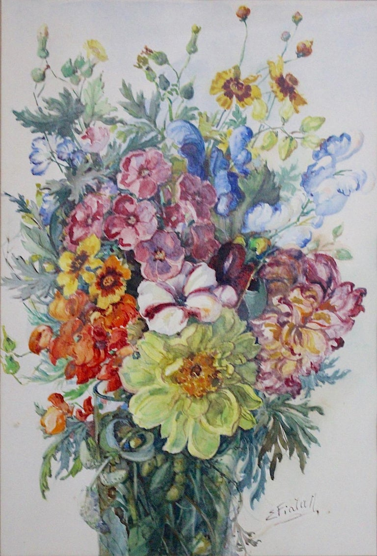 Paper Art Deco Watercolor Vintage Painting Wildflowers by Emil Fiala, Vienna, 1930s For Sale