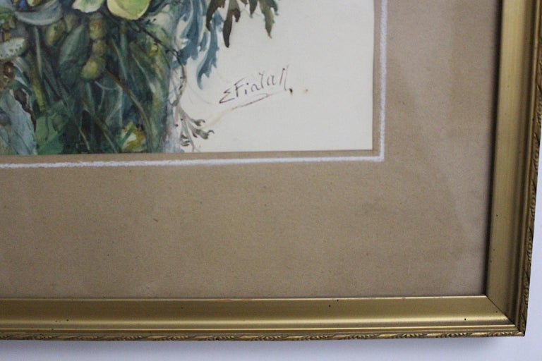 Art Deco Watercolor Vintage Painting Wildflowers by Emil Fiala, Vienna, 1930s For Sale 1