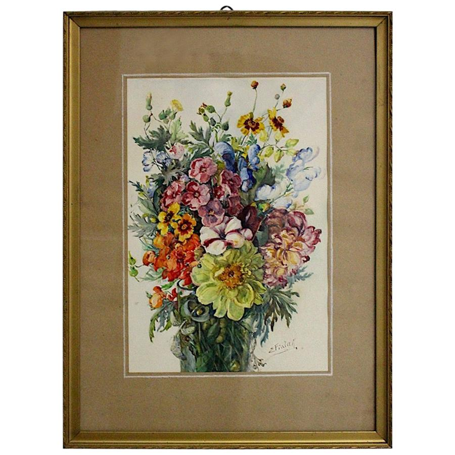 Art Deco Watercolor Vintage Painting Wildflowers by Emil Fiala, Vienna, 1930s