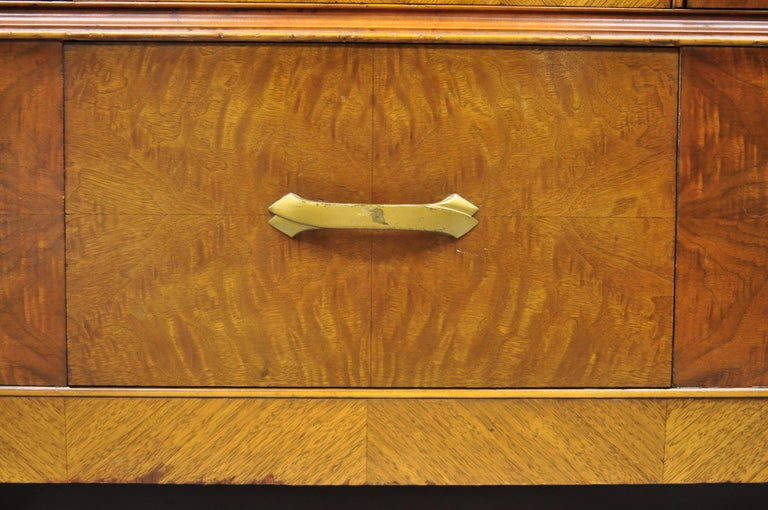 Art Deco Waterfall Chest Dresser Armoire Wardrobe Cedar Chest Mirror by Tri-Bond For Sale 3