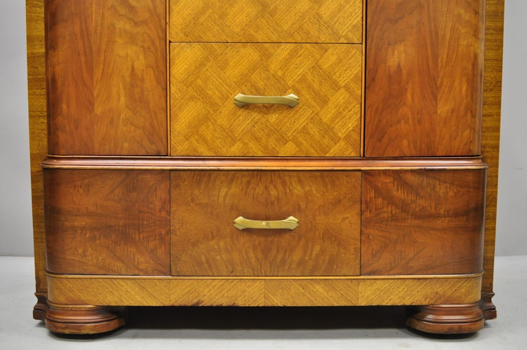 Art Deco Waterfall Chest Dresser Armoire Wardrobe Cedar Chest Mirror by Tri-Bond For Sale 4