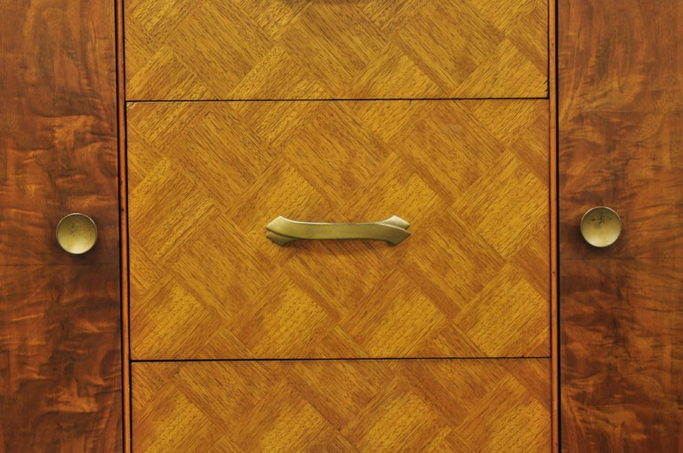 Veneer Art Deco Waterfall Chest Dresser Armoire Wardrobe Cedar Chest Mirror by Tri-Bond For Sale
