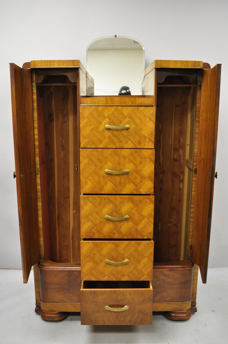 Art Deco Waterfall Chest Dresser Armoire Wardrobe Cedar Chest Mirror by Tri-Bond In Good Condition For Sale In Philadelphia, PA