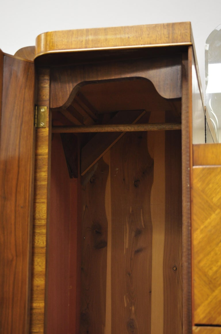 20th Century Art Deco Waterfall Chest Dresser Armoire Wardrobe Cedar Chest Mirror by Tri-Bond For Sale