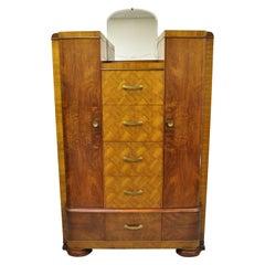 Art Deco Waterfall Chest Dresser Armoire Wardrobe Cedar Chest Mirror by Tri-Bond