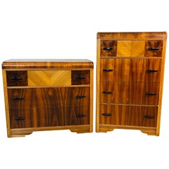 Art Deco Waterfall Dressers, Pair