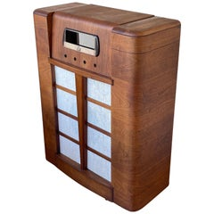 Art Deco Waterfall Floor Radio Case in Walnut