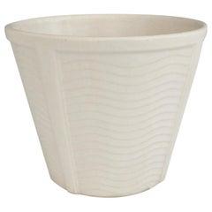 Art Deco Wave Design on Heavy Bodied Matte White McCoy Planter Pot