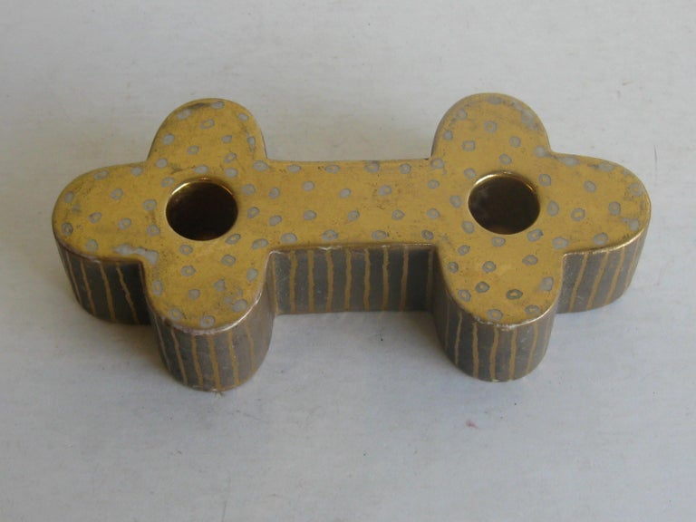 Art Deco Waylande Gregory Studio Art Pottery Candlestick Holder Candleholder In Good Condition For Sale In San Diego, CA