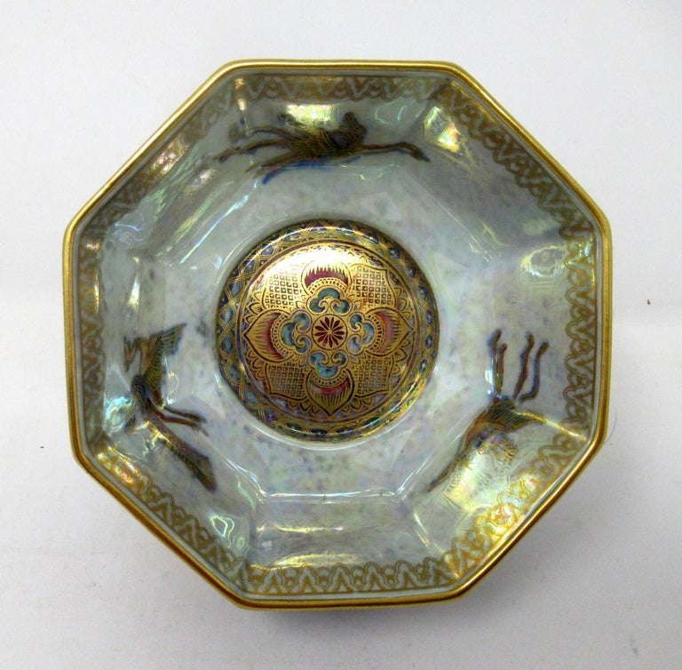 """A very elegant Art Deco """"Celestial Dragon"""" pattern Lustre bowl of compact proportions and octagonal form by Daisy Makeig-Jones, circa 1920-1930.  This finely made ceramic bowl is a derivative of her renowned """"Fairyland Luster"""" series which"""