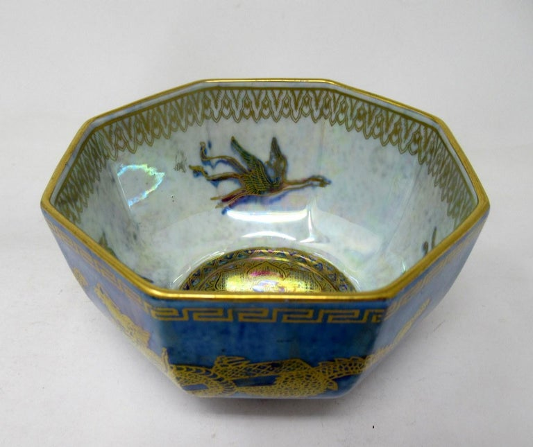 English Art Deco Wedgwood Celestial Chinese Dragon Lustre Ware Bowl Centerpiece, 1920s   For Sale