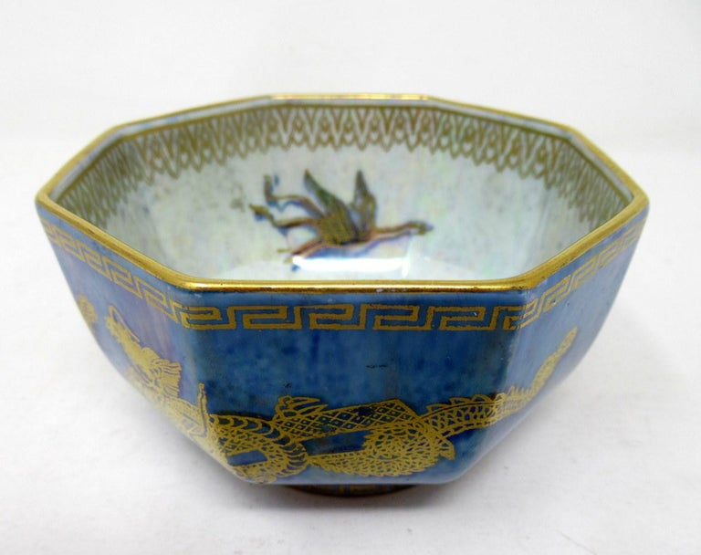 Hand-Painted Art Deco Wedgwood Celestial Chinese Dragon Lustre Ware Bowl Centerpiece, 1920s   For Sale