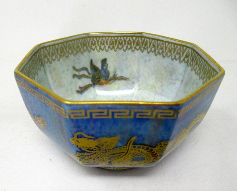 Art Deco Wedgwood Celestial Chinese Dragon Lustre Ware Bowl Centerpiece, 1920s   In Excellent Condition For Sale In Dublin, Ireland