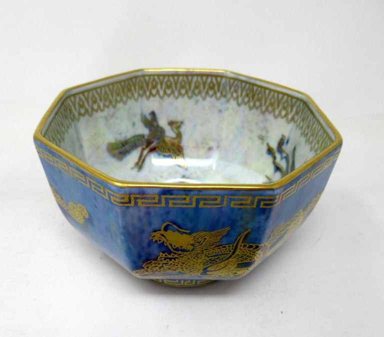 20th Century Art Deco Wedgwood Celestial Chinese Dragon Lustre Ware Bowl Centerpiece, 1920s   For Sale