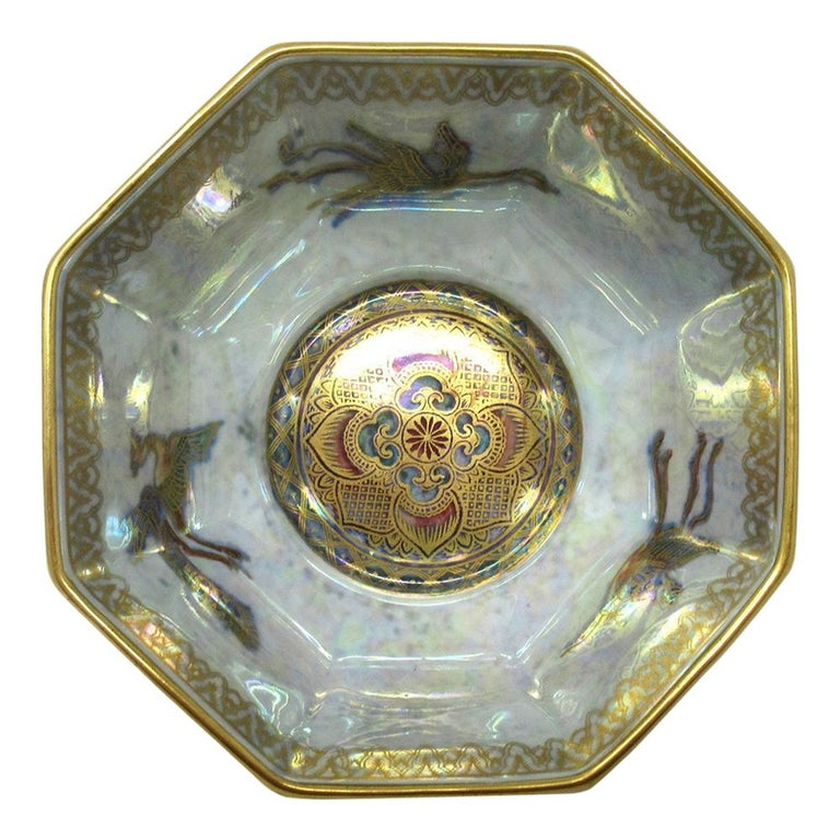 Art Deco Wedgwood Celestial Chinese Dragon Lustre Ware Bowl Centerpiece, 1920s   For Sale