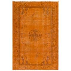 Art Deco West Anatolian Rug, Overdyed in Burnt Orange