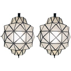 Art Deco White Milk Chandeliers, Pendant or Lanterns in Dome Shape, a Pair