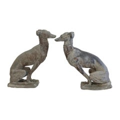 Art Deco Whippets Lead Statues Pair